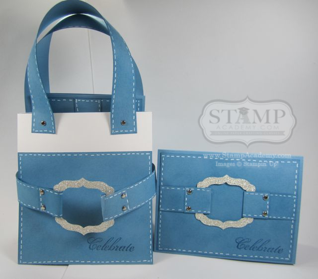 Faux Denim Tote Bag With Matching Card