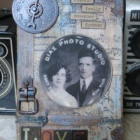 Vintage Burlap Panel with Idea-ology Charms