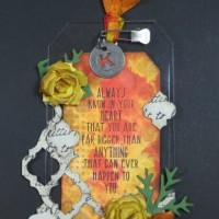 Window Sheet Distressed Tag with Flowers