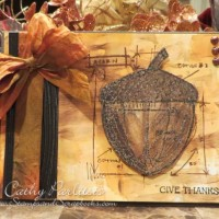 Fall Thanksgiving Card with Acorn and Alcohol Background