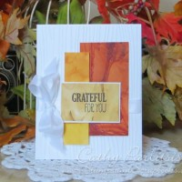 Grateful Fall Card with Alcohol Background and Woodgrain Embossing