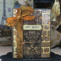 Happy Birthday Card with Distress Ink, Brick Wall and Craft Metal