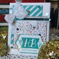 Shiny Teal and Gold Birthday Card