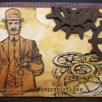 Vintage Masculine Birthday Card with Time Traveler