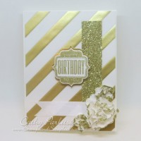 Gold Happy Birthday Card with Glittered Paper Flowers