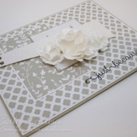 Just Because Monochromatic Card with Paper Flowers