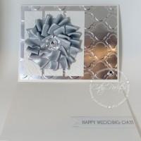 Ribbon Medallion Metallic Wedding Card