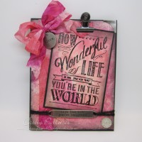 Pink Distressed Wonderful Life Baby Card